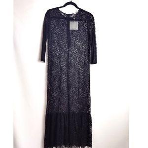 NWT Zara black long lace dress with ruffles
